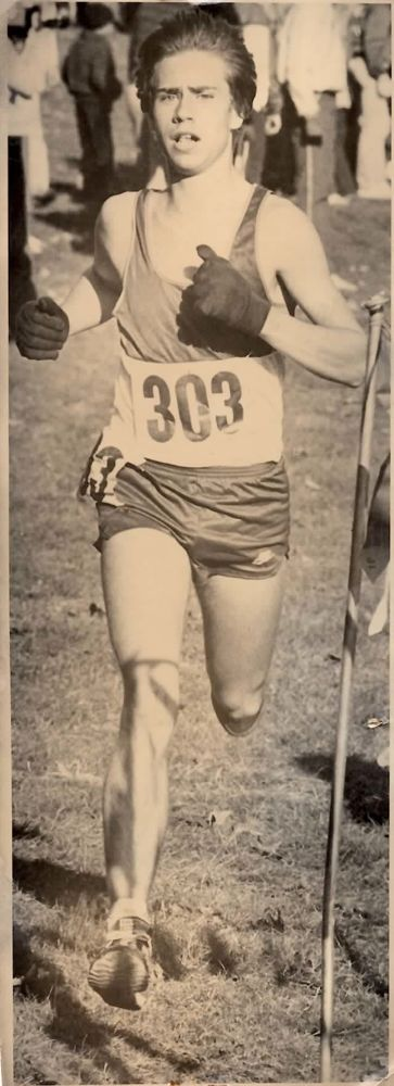 Aaron running in the Windham High School Invitation, Sept 1984 . . .