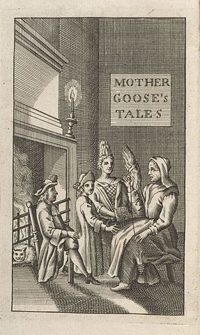 Frontispiece crediting 'Mother Goose' from the only known copy of the first English translation, Perrault (1729)