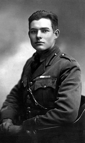 Ernest Hemingway served as an ambulance driver in WWI, pictured here in Milan, 1918
