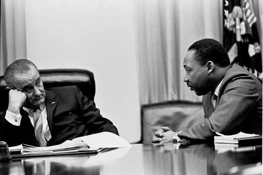 Discussing the Civil Rights Bill with President Johnson