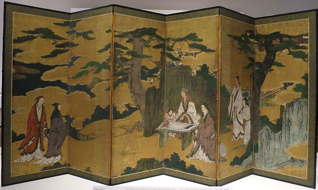 Scholars in a garden, kano school screen, early 17th century