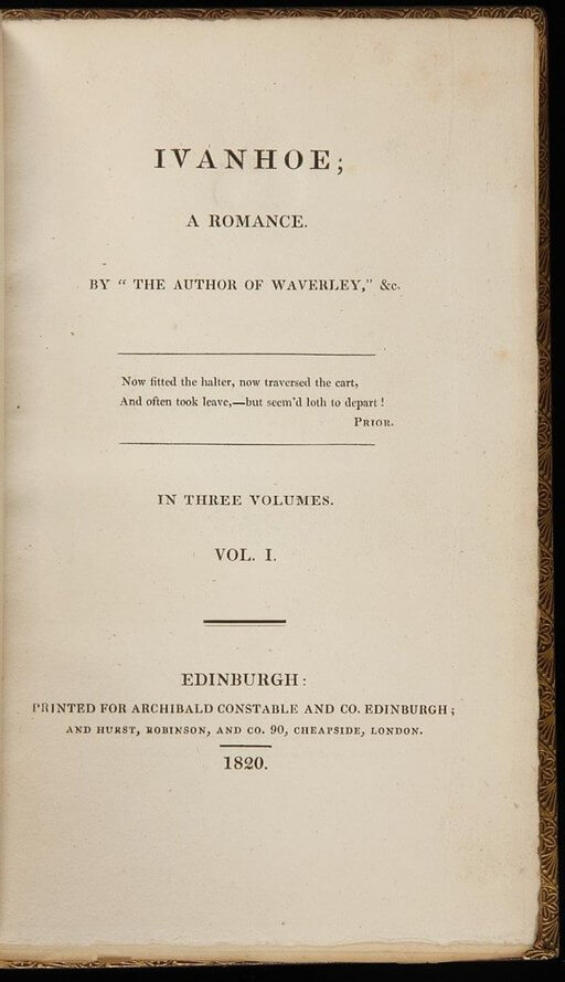 Sir Walter Scott, Ivanhoe, frontis