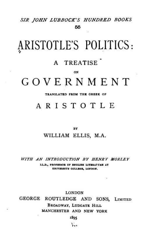 A picture for the book Politics: A Treatise on Government