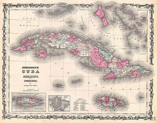 Cuba, Jamaica, Porto Rico map, 1862