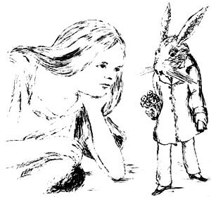 Alice in Wonderland Under Ground Alice and rabbit