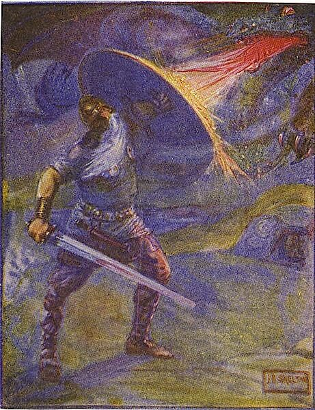 Beowulf: An Anglo-Saxon Epic Poem, Beowulf Fights the Dragon
