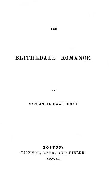 A picture for the book The Blithedale Romance