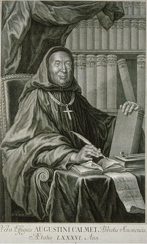 Dom Augustin Calmet, 1750, whose writings about magic, vampires and the apparitions of spirits inspired Le Fanu
