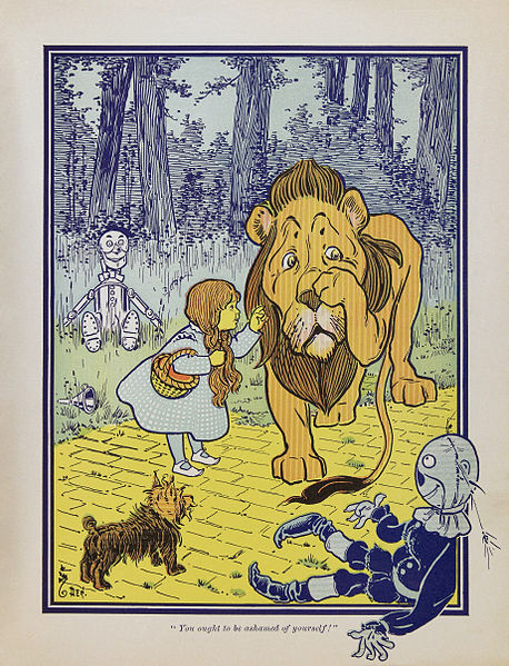 A picture of the Cowardly Lion from the book The Wonderful Wizard of Oz