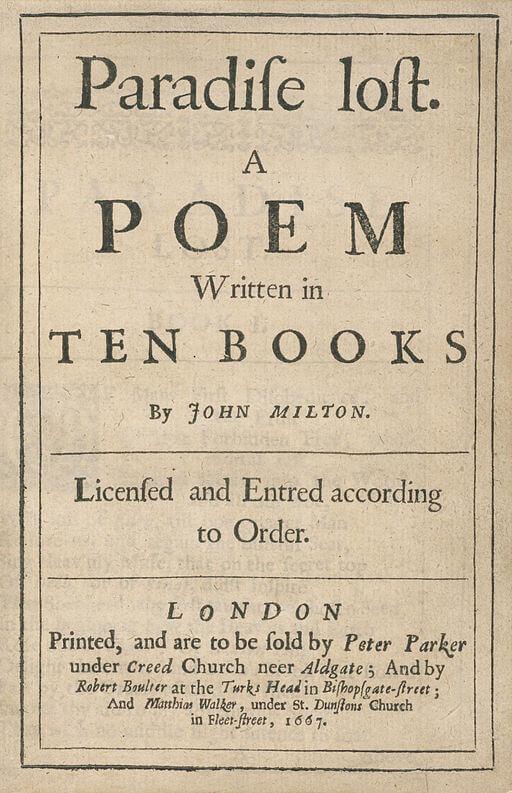 John Milton, Paradise Lost frontis