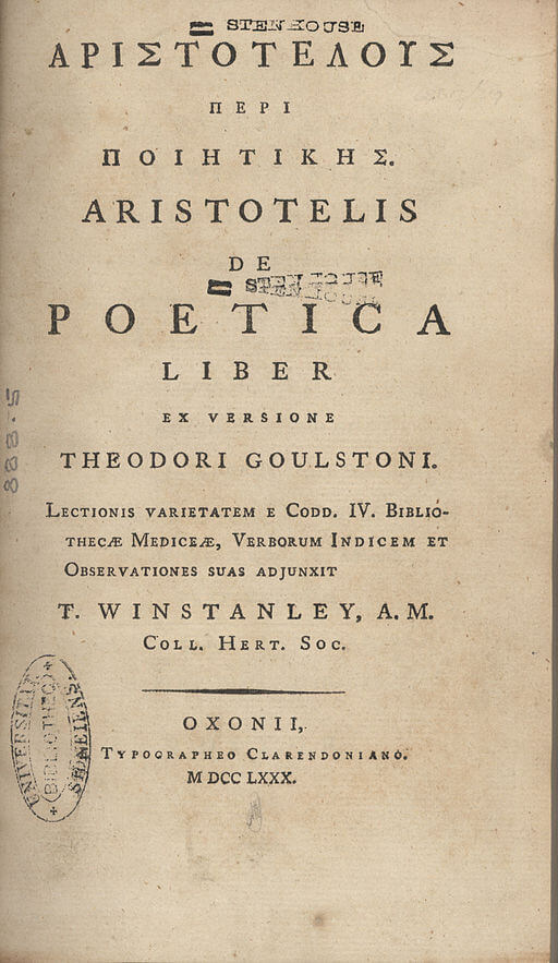 A picture for the book The Poetics of Aristotle