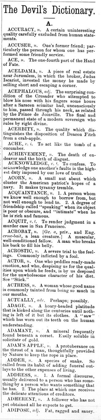 Ambrose Bierce: The Devil's Dictionary column