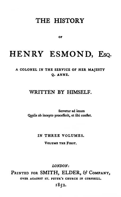 A picture for the book The History of Henry Esmond
