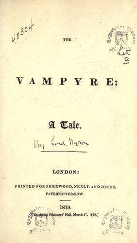 A picture for the book The Vampyre