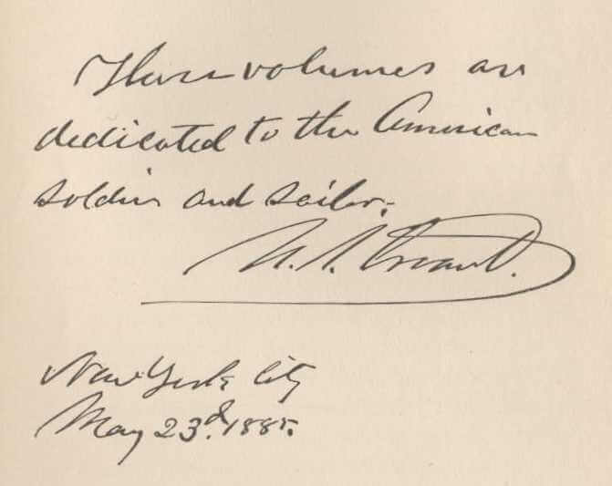 Memoirs of U.S. Grant dedication