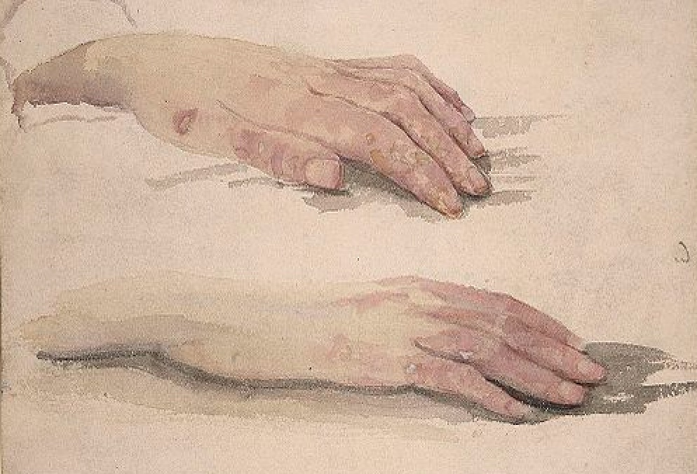 Sherwood Anderson, Winesburg, Ohio, Hands in watercolor