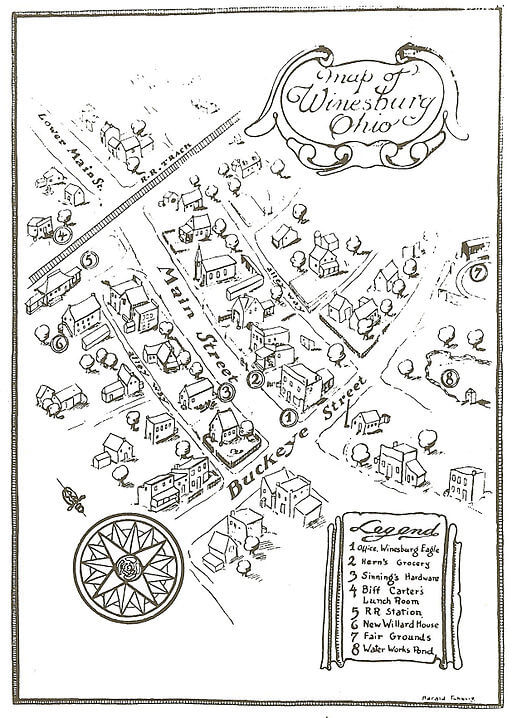 Sherwood Anderson, Winesburg, Ohio map