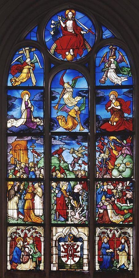 Hans Holbein stained glass, Last Judgement, 16th century