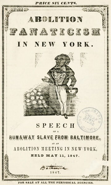 An illustration for the story Abolition Fanaticism in New York by the author Frederick Douglass