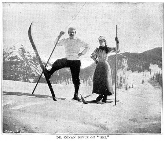 An illustration for the story An Alpine Pass on Ski by the author Sir Arthur Conan Doyle
