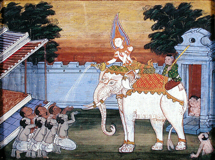 Vessantara Jataka, Royal white elephant, Thailand, late 19th century