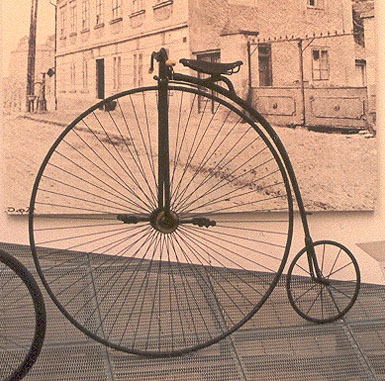 High wheeled bike, known as a penny-farthing, 1880s