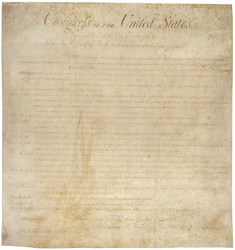 An illustration for the story U.S. Bill of Rights by the author James Madison