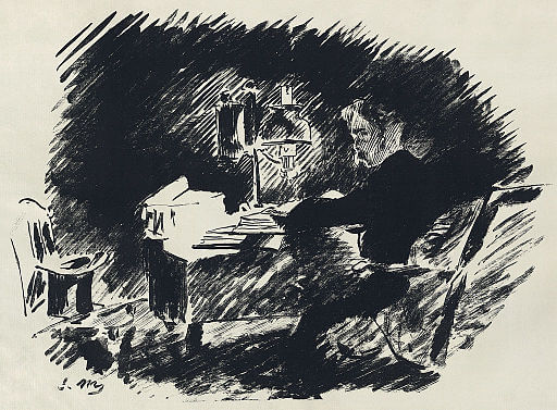 An illustration for the story The Philosophy of Composition by the author Edgar Allan Poe