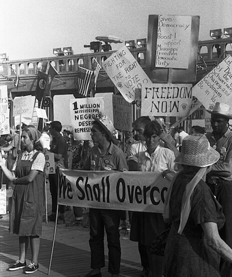 An illustration for the story We Shall Overcome by the author Martin Luther King, Jr.