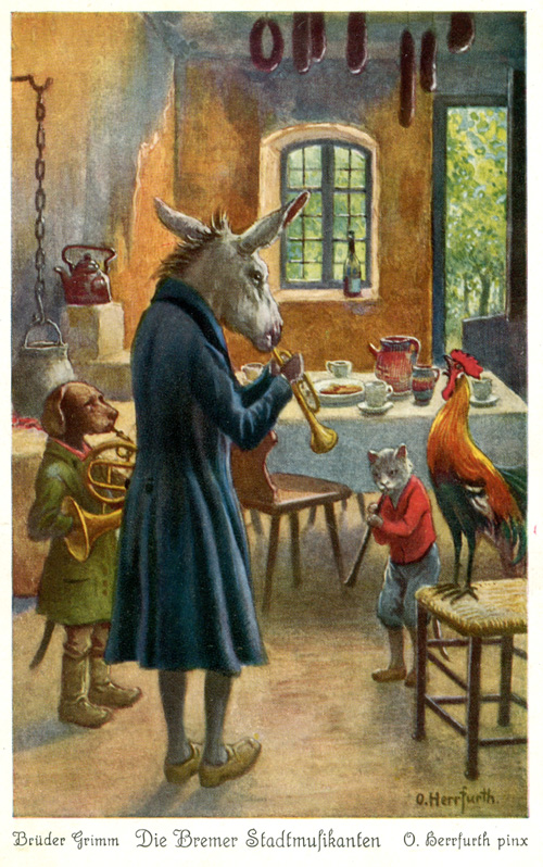 An illustration for the story The Bremen Town Musicians by the author The Brothers Grimm