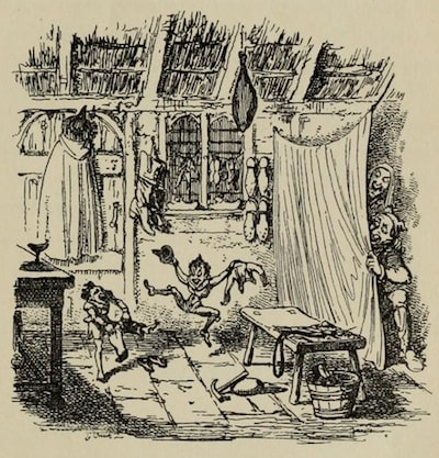 An illustration for the story The Elves and The Shoemaker by the author The Brothers Grimm