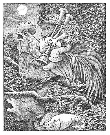An illustration for the story Hans the Hedgehog by the author The Brothers Grimm