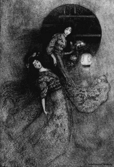 An illustration for the story The Peony Lantern by the author Grace James