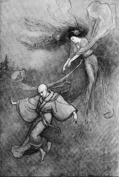 An illustration for the story The Bell of the Dojoji by the author Grace James
