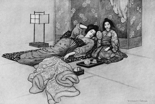 An illustration for the story The Matsuyama Mirror by the author Grace James
