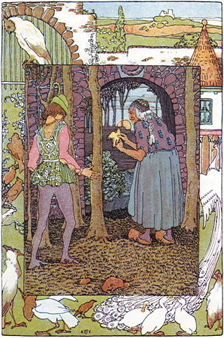An illustration for the story Jorinda and Joringel by the author The Brothers Grimm