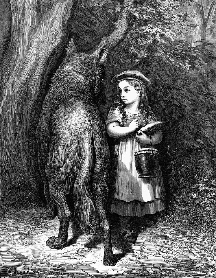 An illustration for the story Little Red-Cap by the author The Brothers Grimm