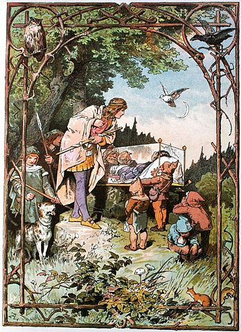 An illustration for the story Little Snow-White by the author The Brothers Grimm