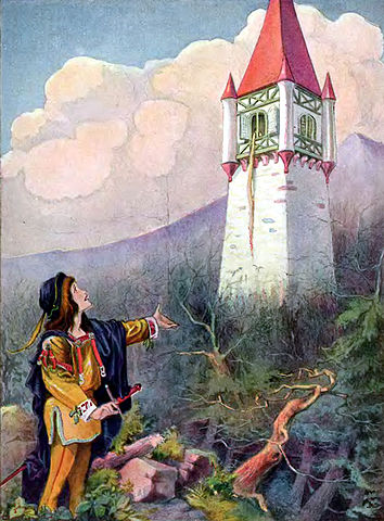 An illustration for the story Rapunzel by the author The Brothers Grimm