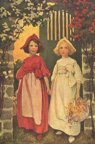 An illustration for the story Snow-White and Rose-Red by the author The Brothers Grimm