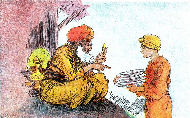 An illustration for the story The Adventures of Aladdin by the author The Brothers Grimm