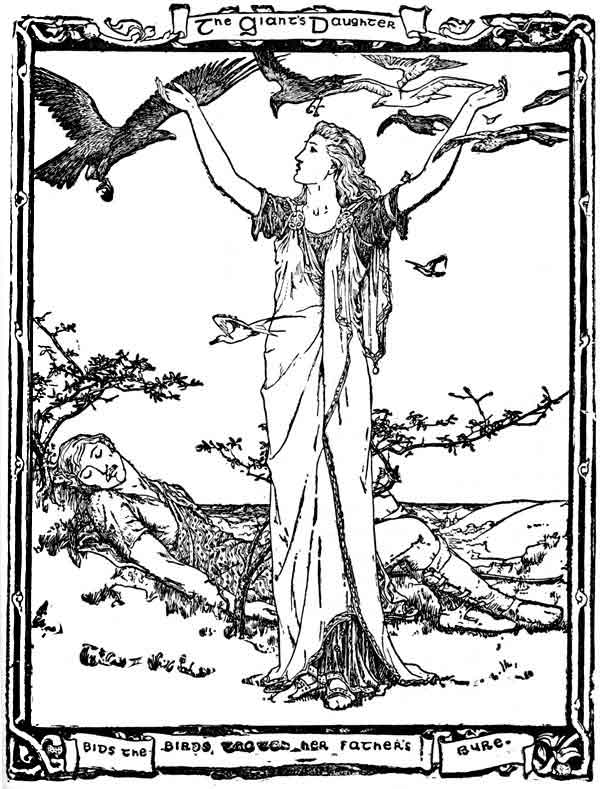 An illustration for the story The Battle of the Birds by the author Joseph Jacobs