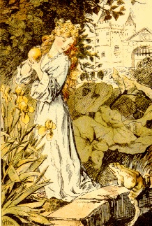An illustration for the story The Frog Prince by the author The Brothers Grimm