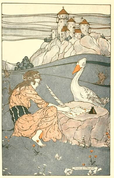 An illustration for the story The Goose Girl and the Blue Gander by the author Loretta Ellen Brady
