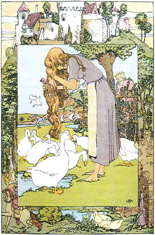 An illustration for the story The Goose-Girl by the author The Brothers Grimm