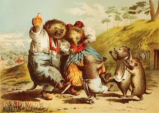 An illustration for the story The Hare and the Hedgehog by the author The Brothers Grimm