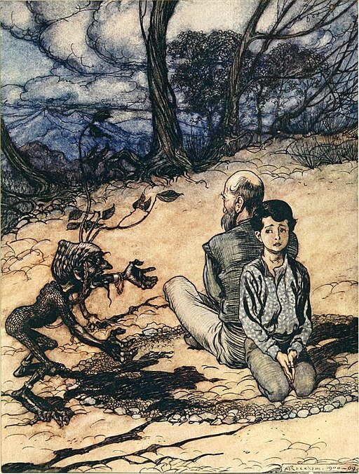 An illustration for the story The King of the Golden Mountain by the author The Brothers Grimm