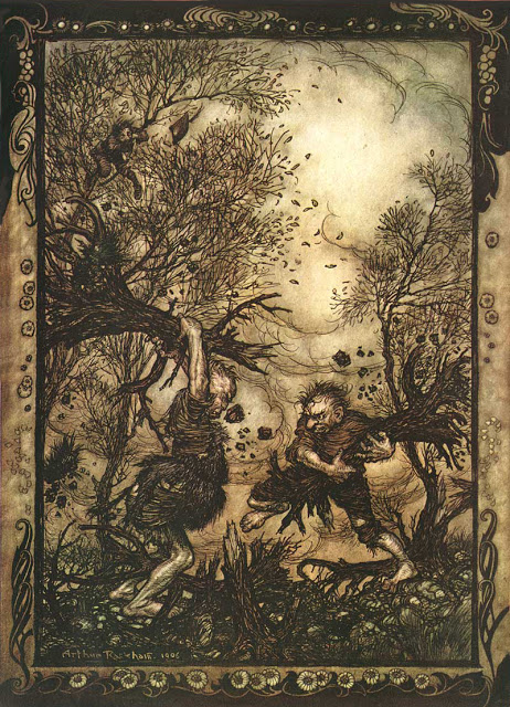 An illustration for the story The Louse and the Flea by the author The Brothers Grimm