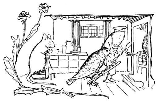 An illustration for the story The Mouse, the Bird, and the Sausage by the author The Brothers Grimm