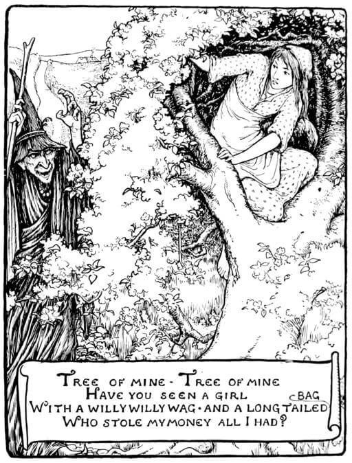 An illustration for the story The Old Witch by the author The Brothers Grimm